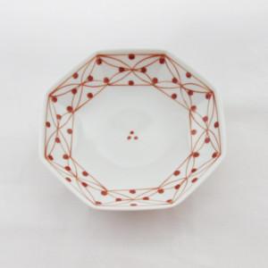 七宝地紋(赤)・八角皿(小)