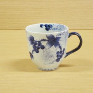 染付和ぶどう(青)・マグカップ