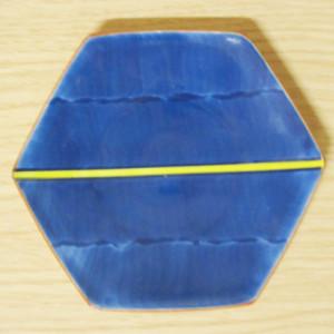 黄一本線濃 六角4寸皿