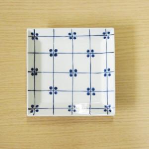 格子四弁花紋 7寸角皿(青)