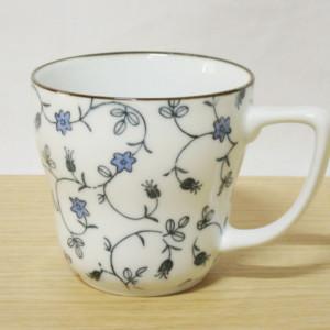 ベルフラワー(青) 銅版マグカップ