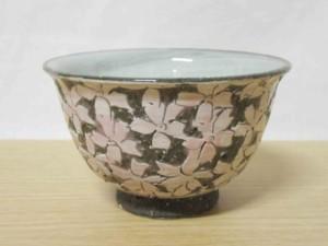 黒土桜彫(ピンク) ご飯茶わん
