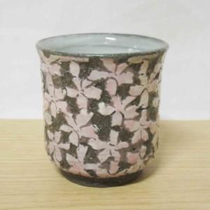 黒土桜彫(ピンク) ゆのみ