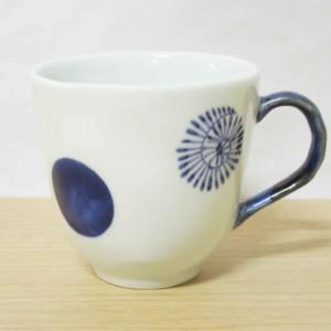 染付丸紋たこ唐草(青) マグカップ