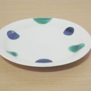 緑交趾丸紋 21cmプレート