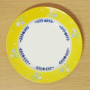渕黄交趾花絵 8寸皿