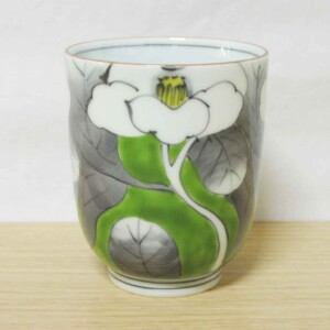 染錦山茶花(緑) ゆのみ