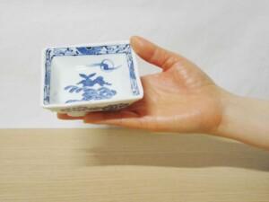 青海波月兎 変型角皿(小) 手のひら