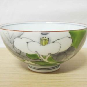 染錦山茶花(緑) ご飯茶わん