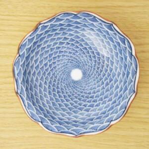 青海波文 桔梗小皿1