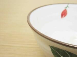 粉引バラ ご飯茶わん(赤)8